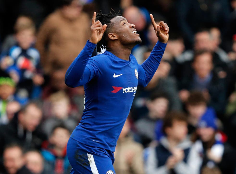 Michy Batshuayi celebrates after scoring the opening goal in Chelsea's FA Cup clash with Newcastle