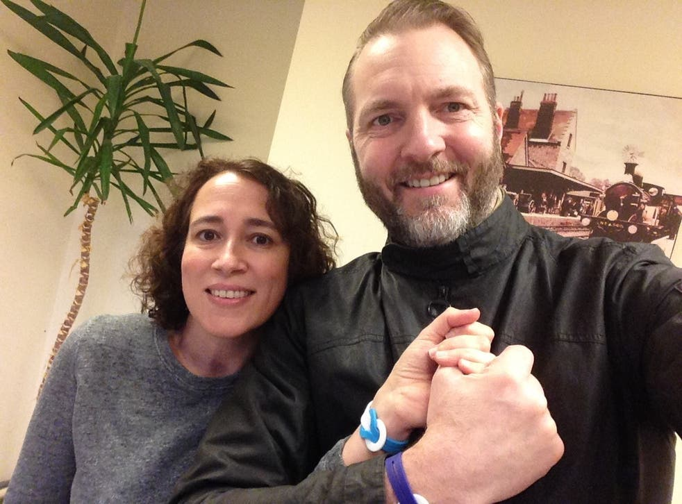 Yasmin, who was diagnosed with breast cancer, and her husband, Jason, support the Unity Band campaign