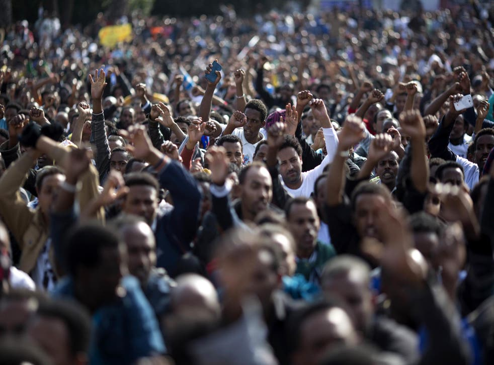 African migrants protest about the deportation plans in Rabin Square, Tel Aviv
