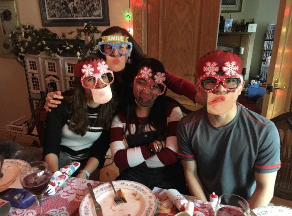 Stephen (far right) celebrates Christmas with (from left) foster sister Naomi, foster mother Davina and his girlfriend