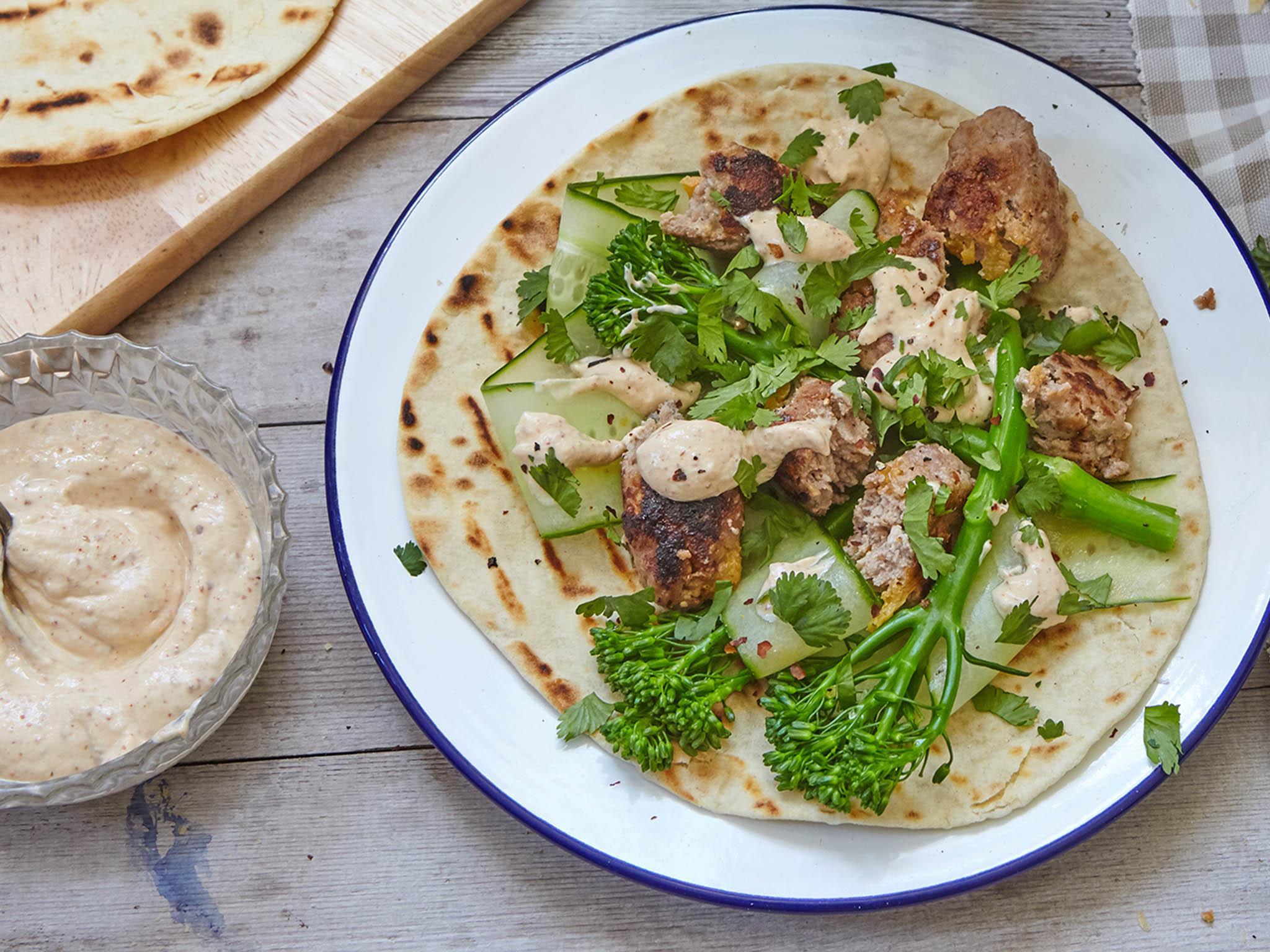 How to make lamb koftas with tenderstem broccoli and tahini sauce
