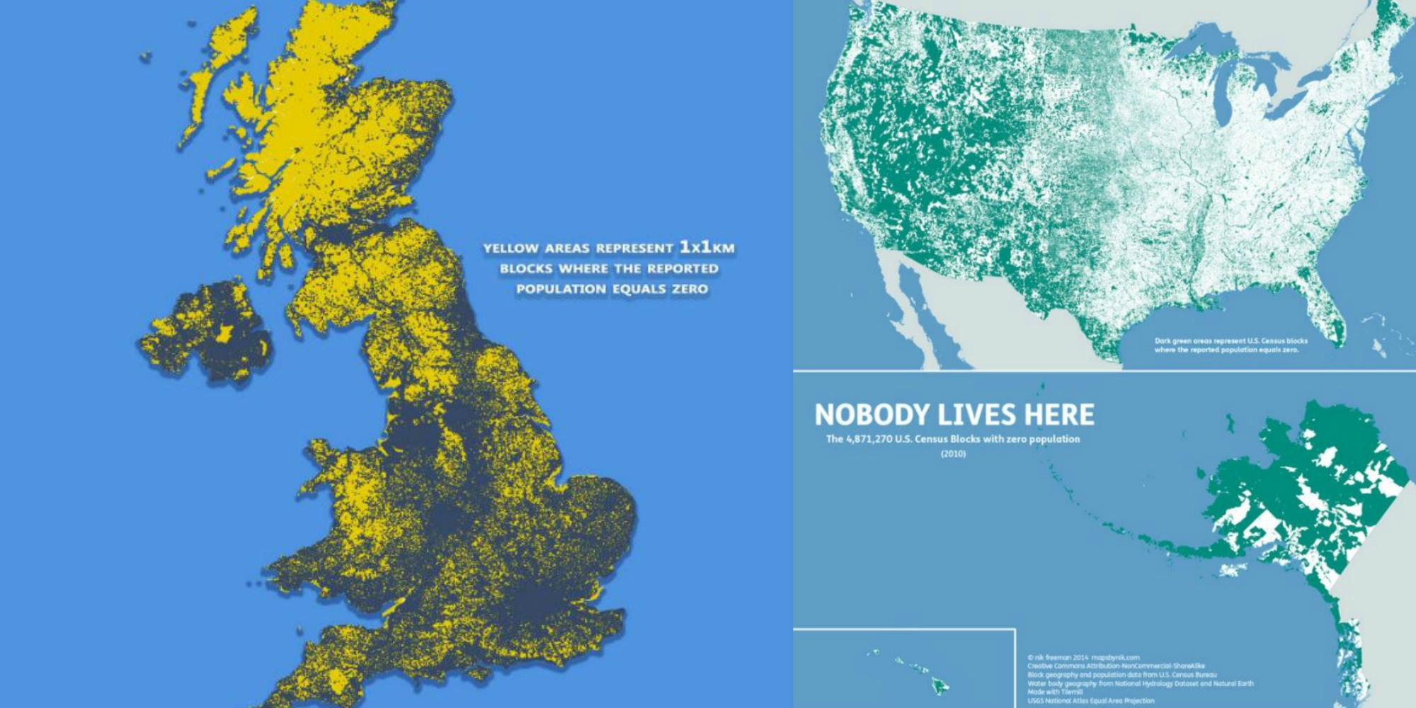 Map Of The Uk Where Nobody Lives Indy100