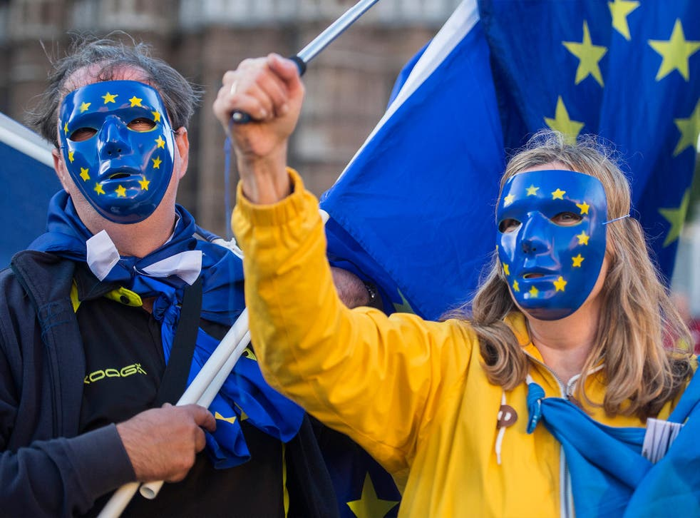 Anti-Brexit protesters at a march in Westminster