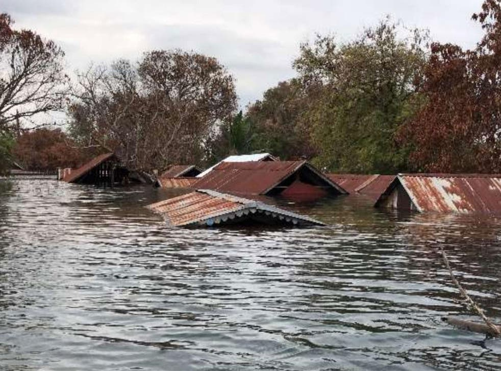 The village of Srekor has been completely submerged by floodwater