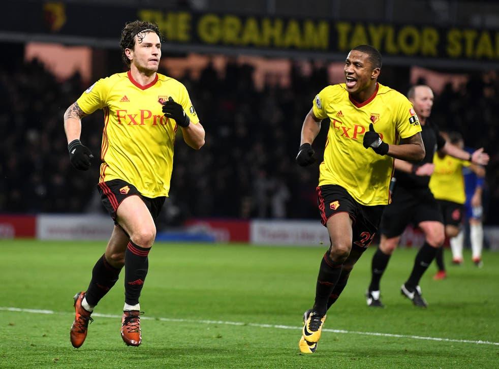 Daryl Janmaat celebrates putting Watford back in front after Eden Hazard's equaliser