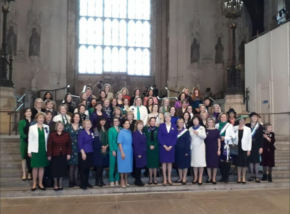 The Conservative Party's female MPs gathered in Westminster Hall to commemorate the centenary of women gaining the vote
