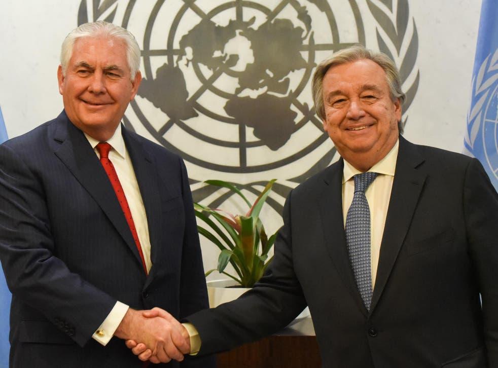 US Secretary of State Rex Tillerson met with UN Secretary-General Antonio Guterres 15 December 2017.