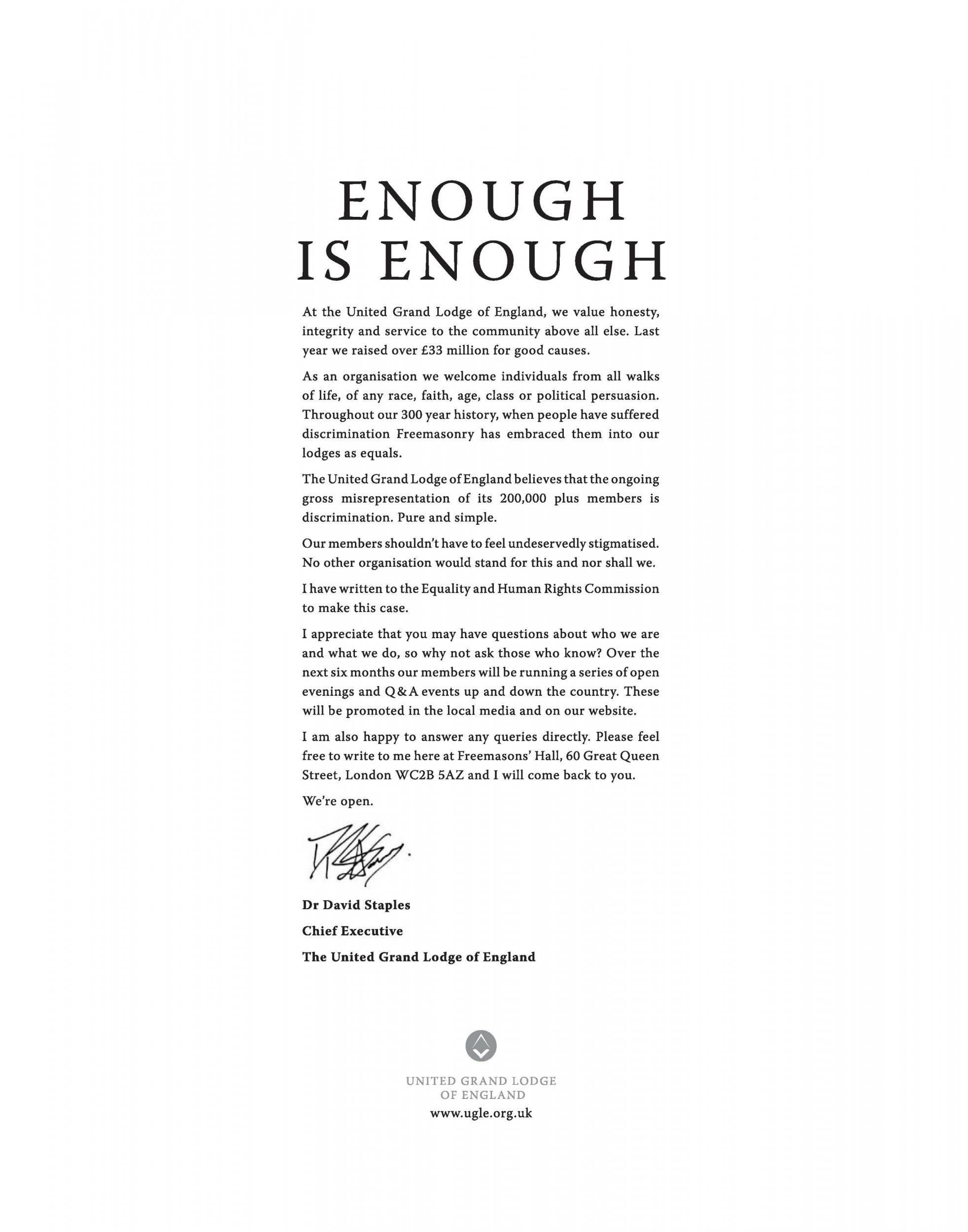 Freemasons place advert in national newspapers to protest