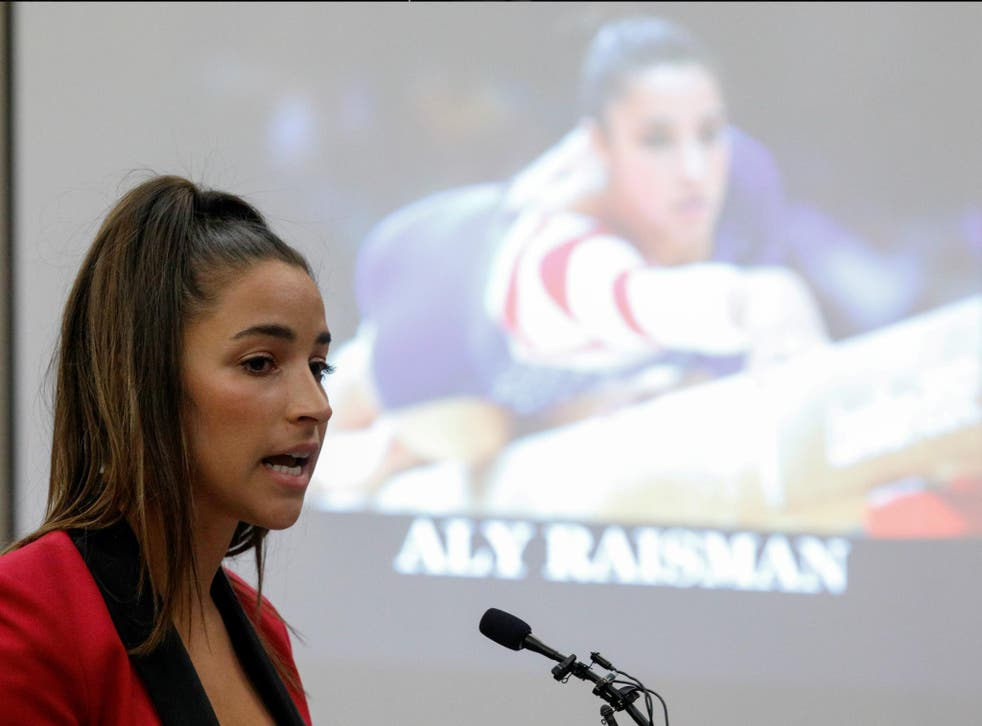 Survivor and Olympic gold medalist Aly Raisman speaks at the sentencing hearing for Larry Nassar, 19 January 2018.