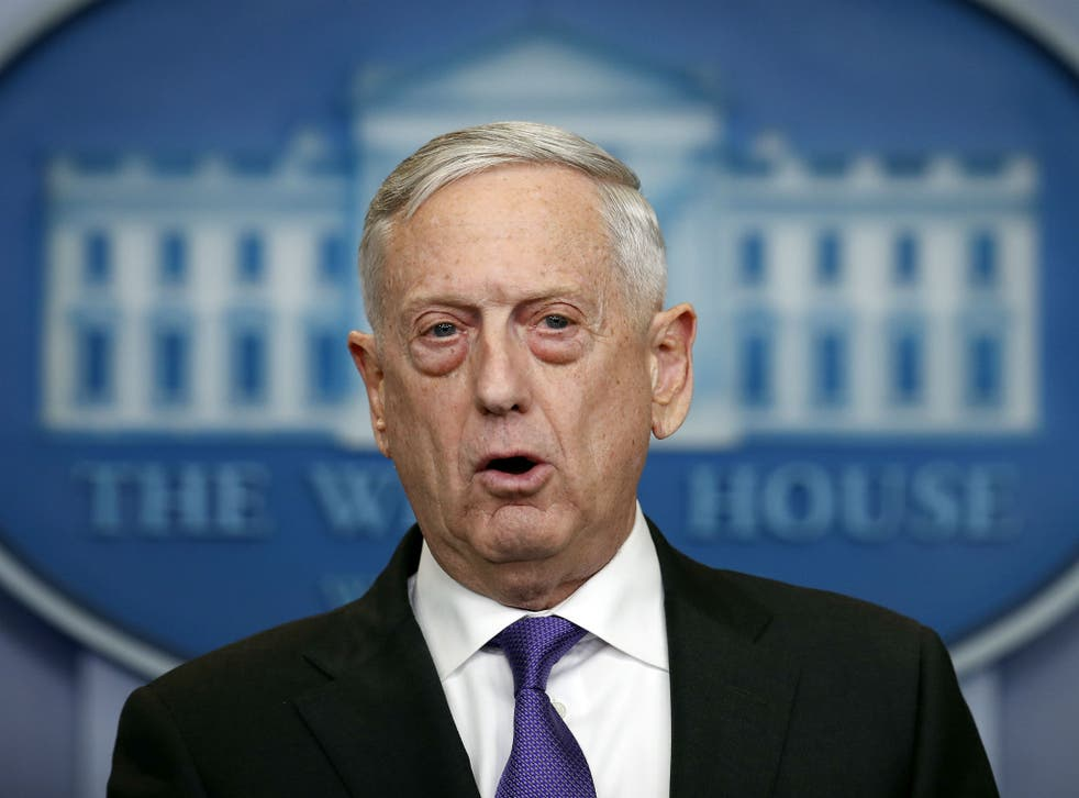 Defense Secretary Jim Mattis speaks during the daily press briefing at the White House