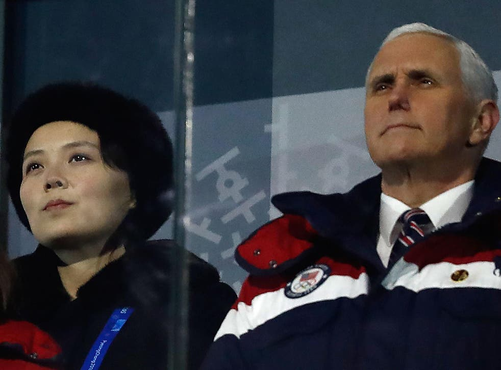Mike Pence, the US Vice President and Kim Jong-un's sister, Kim Yo-jong, at the opening ceremony of the Pyeongchang 2018 Winter Olympic Games