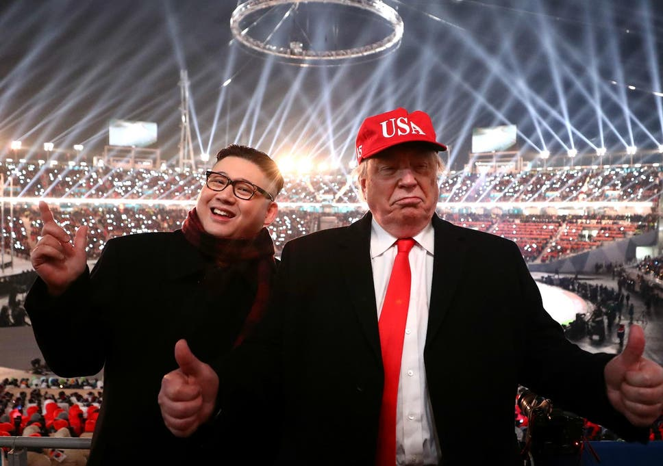 ceefa8c0d34 Impersonators of Donald Trump and Kim Jong Un pose during the Opening  Ceremony of the PyeongChang