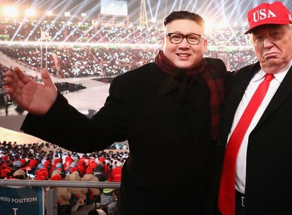 Trump and Kim Jong Un impersonators from this year's Winter Olympics is the closest we've come to a meeting between the two so far