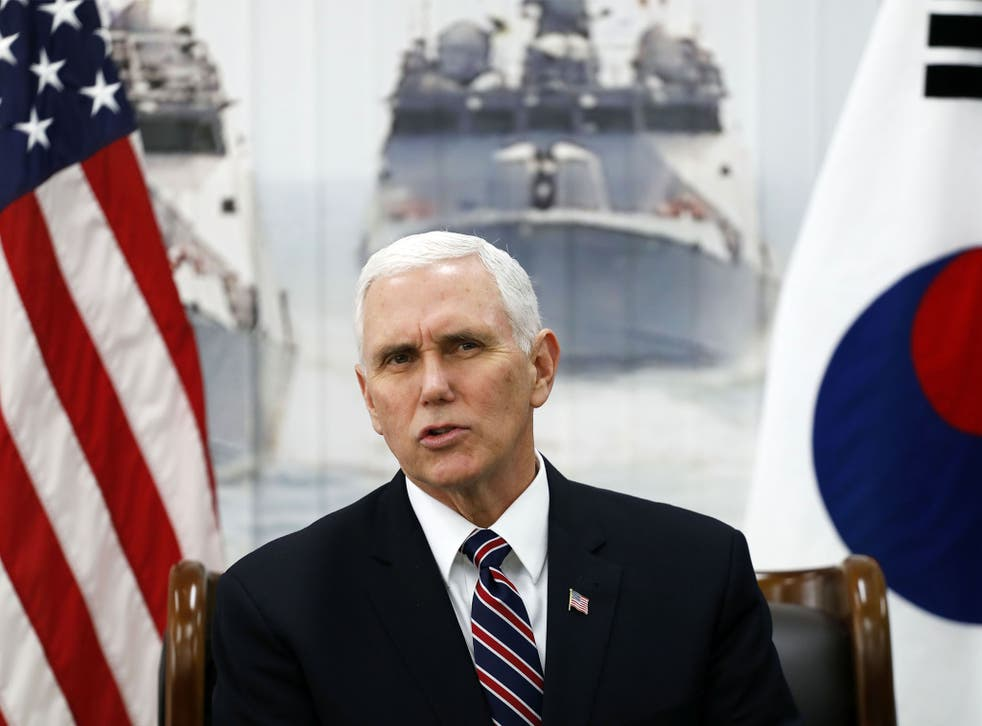 Mr Pence speaking during his visit to South Korea