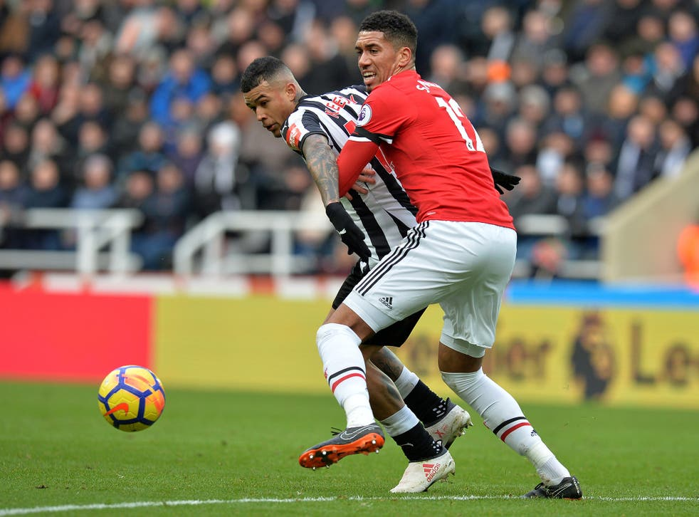 Chris Smalling lost a key duel in the buildup to Newcastle's winner