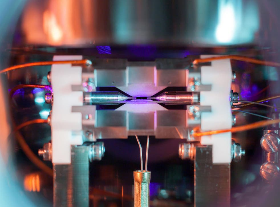This picture, taken at the Clarendon Laboratory at Oxford University and showing a single glowing atom of strontium, is the Overall Winner in the Engineering and Physical Sciences Research Council's annual photography competition