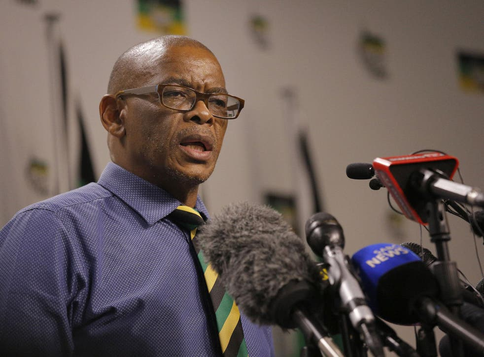 ANC's secretary general Ace Magashule addresses the media in Johannesburg, South Africa, 13 February 2018