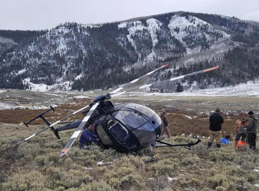 The research helicopter that was brought down by a leaping elk in the mountains of eastern Utah