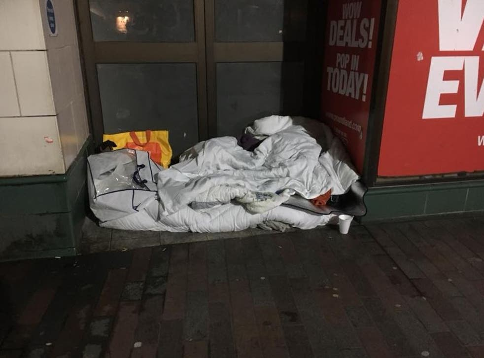 The bedding of a woman who allegedly had a bucket of water poured on her in Northampton