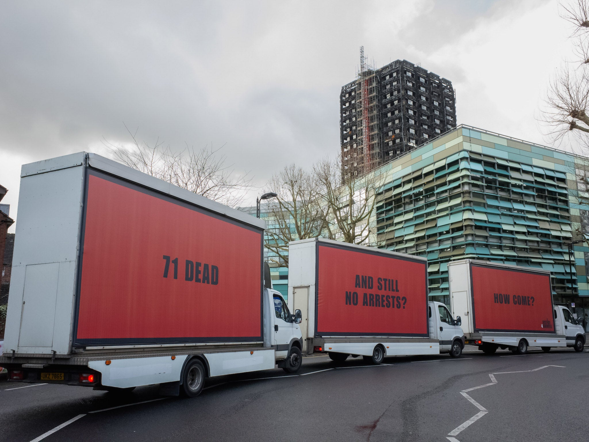 Watch Three Billboards inspired a campaign demanding justice for fire that killed 71 people in London video