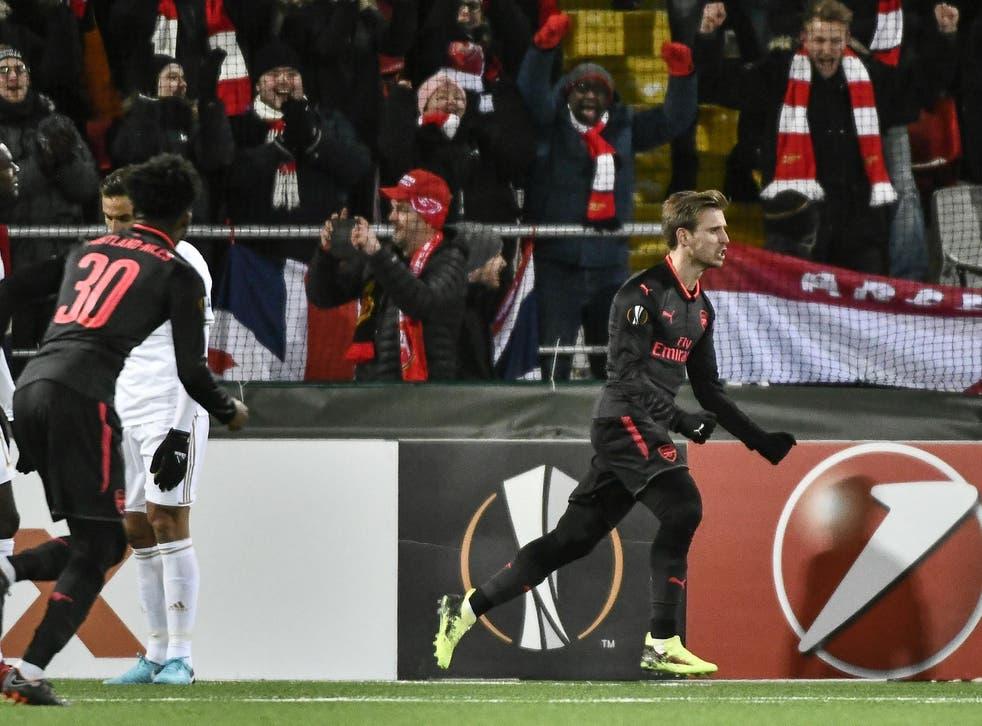 Nacho Monreal celebrates his opening goal
