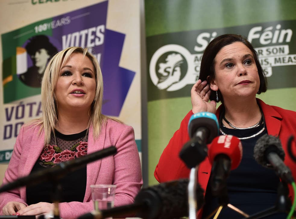 Sinn Fein leader Mary Lou McDonald, right, and her deputy, Michelle O'Neill, said the DUP was responsible for talks breaking down