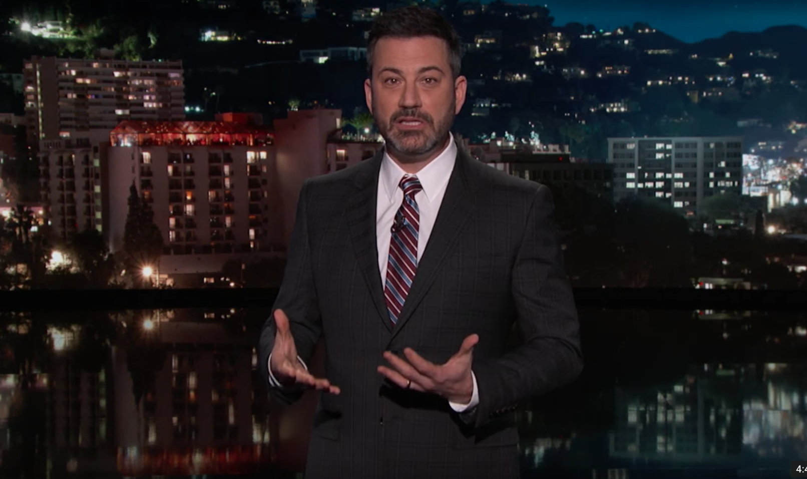 Jimmy Kimmel calls out Trump during emotional Florida shooting monologue