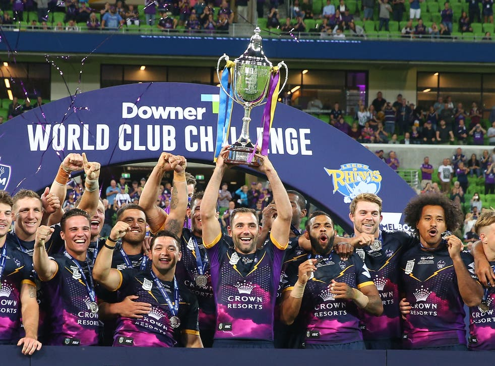 Cameron Smith lifts the World Club Challenge trophy after Melbourne Storm beat Leeds Rhinos