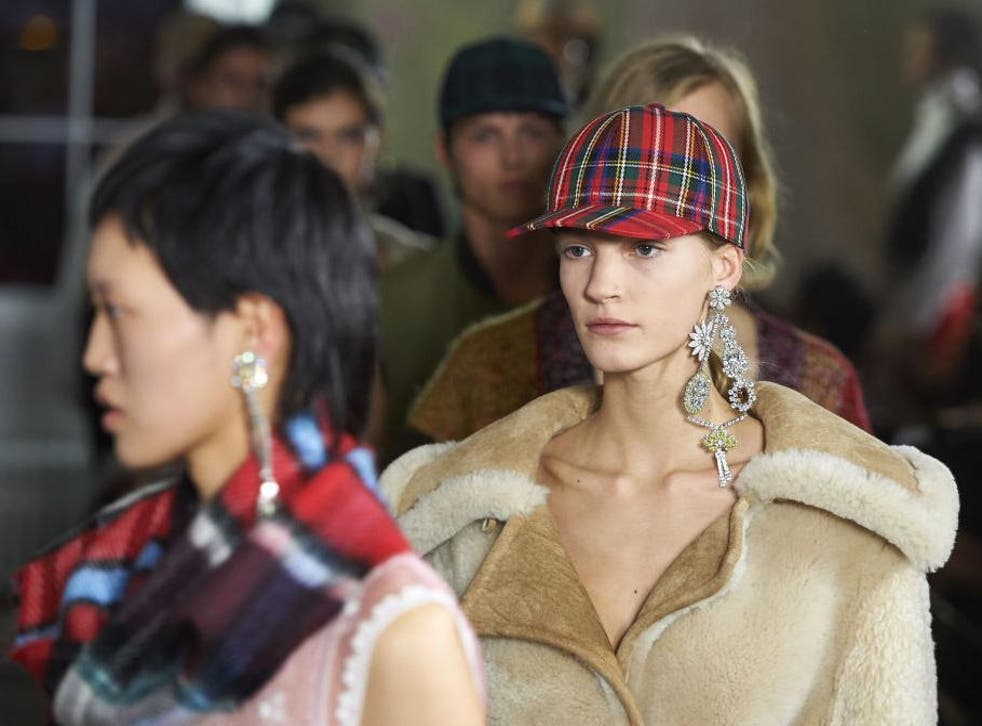 Models present Burberry creations for spring/summer during last year's show