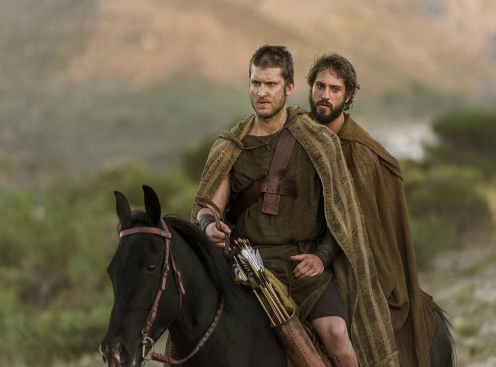 Tom Weston-Jones and Louis Hunter in BBC drama 'Troy: Fall of a City'