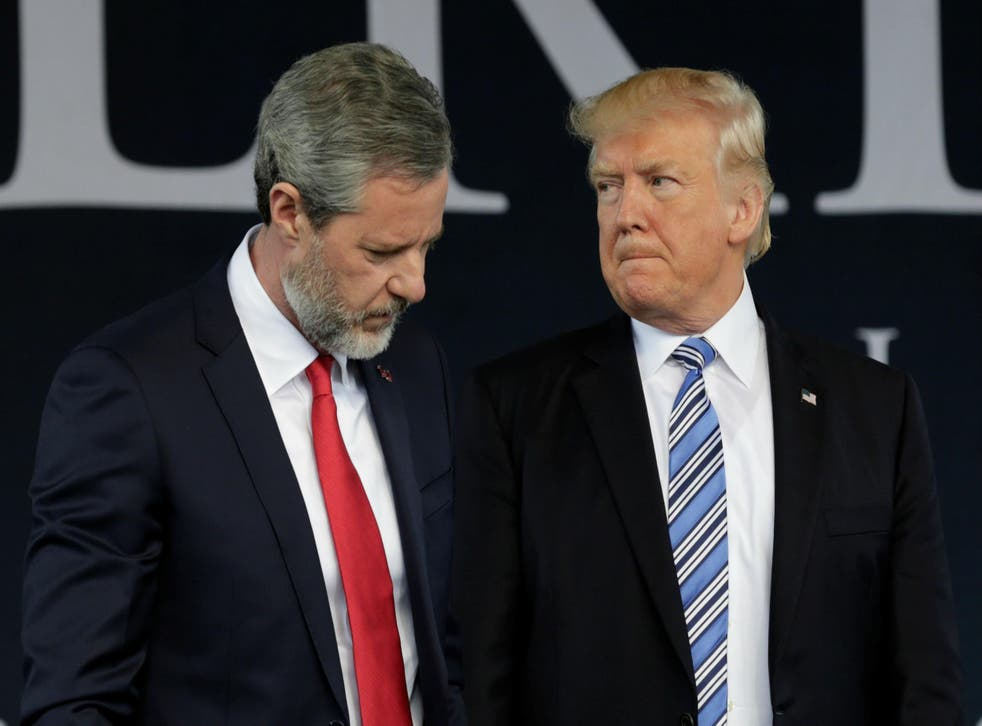The US President with Liberty University president Jerry Falwell Jr in 2017