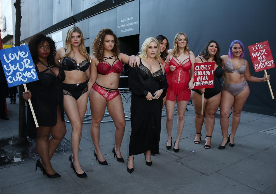 952d53120 Plus-size models hold protest outside London Fashion Week venues ...