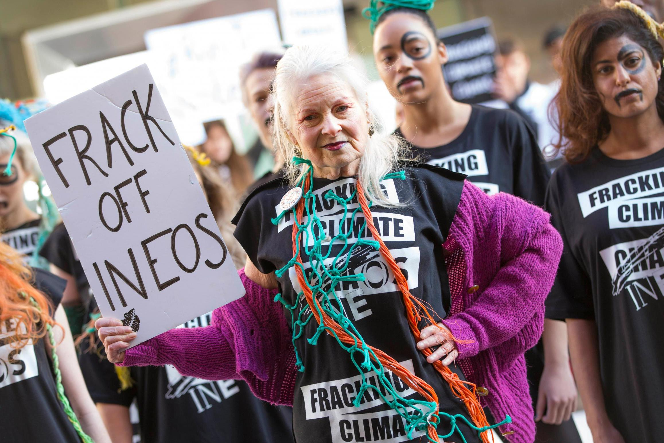 Vivienne Westwood stages anti-fracking protest at London Fashion Week