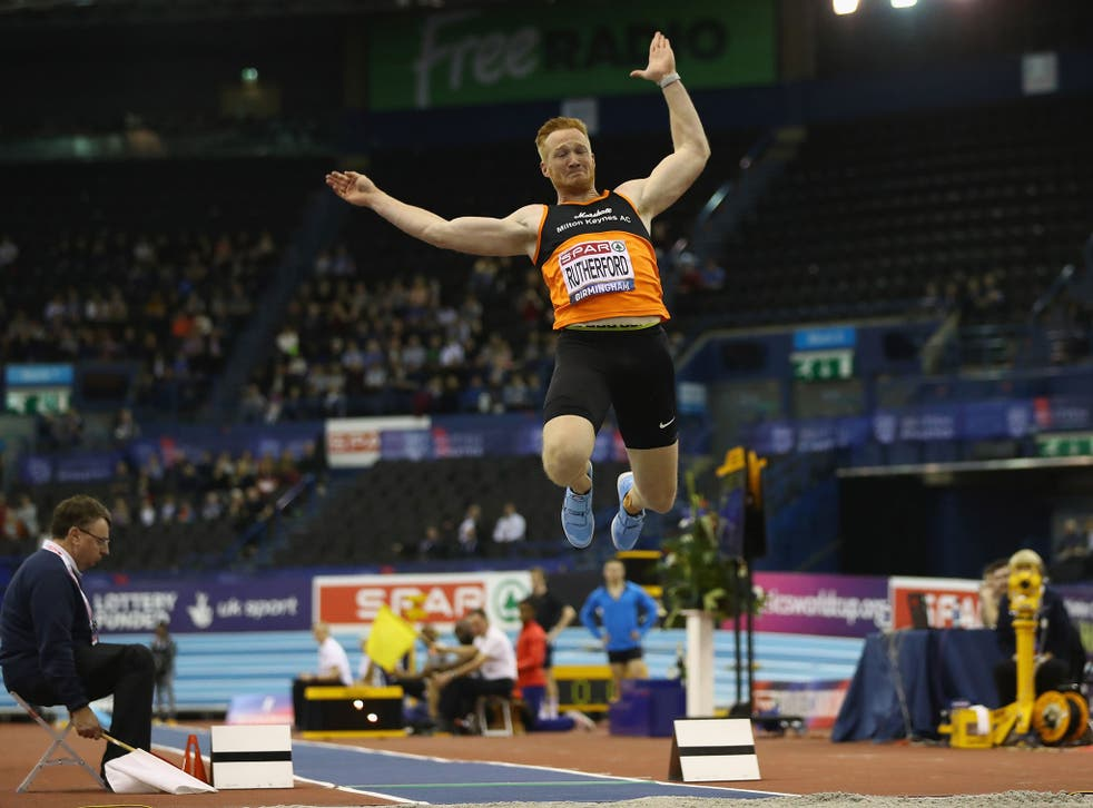 Greg Rutherford in action at Arena Birmingham