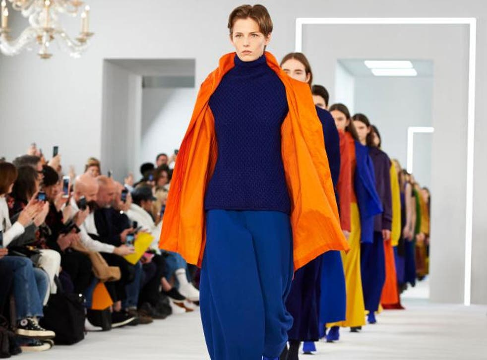 Jasper Conran presented tonal outfits in navy blue, green, orange and Pantone's Colour of the Year: Ultraviolet