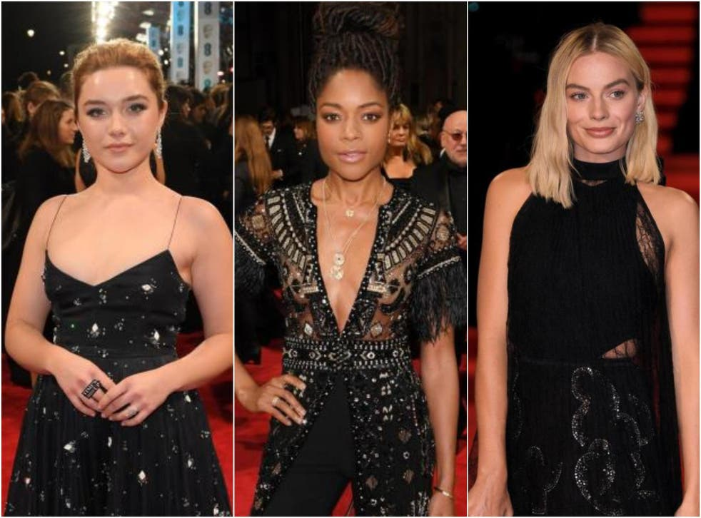 Florence Pugh, Naomie Harris, and Margot Robbie at the BAFTAs 2018
