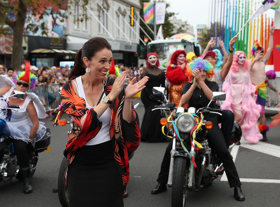 Jacinda Arden opens the Pride Parade in Auckland New Zealand on 17 February 2018