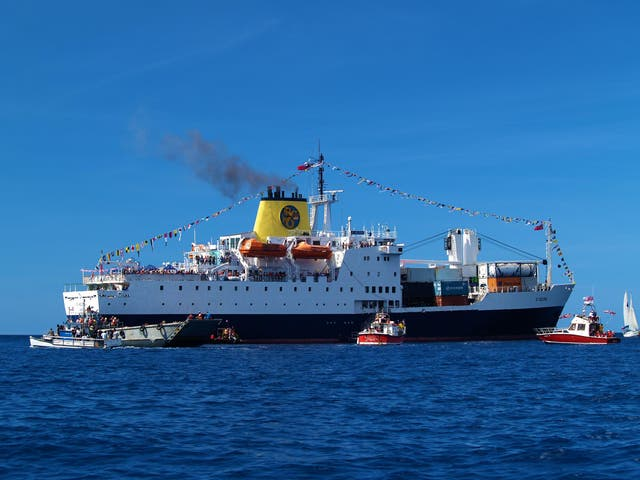 Ship ahoy: the RMS St Helena sails off into the distance