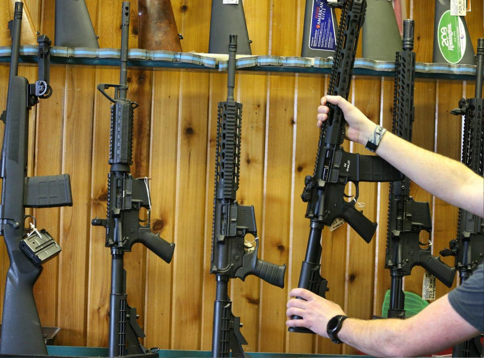 Semi-automatic AR-15's are for sale at Good Guys Guns & Range on 15 February 2018 in Orem, Utah.