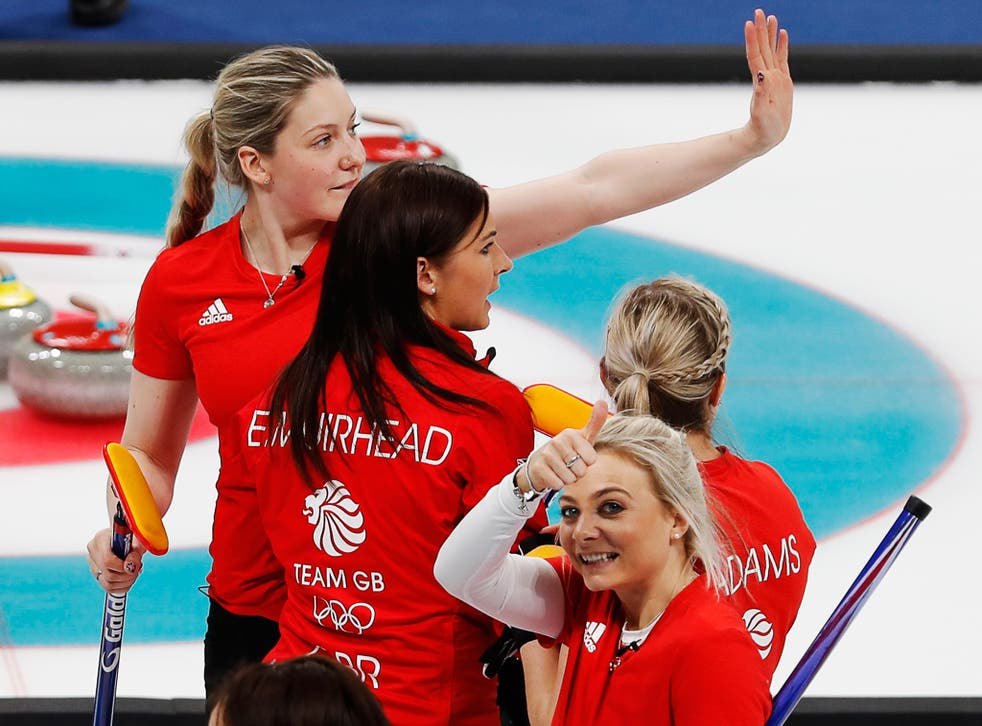 Anna Sloan gives the British fans thumbs up after Great Britain's 8-6 win over Japan