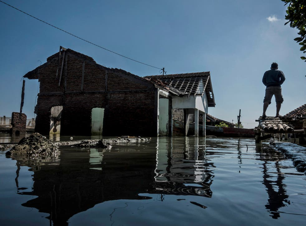 A man walks near abandoned houses surrounded by rising sea levels at Sriwulan village in Indonesia