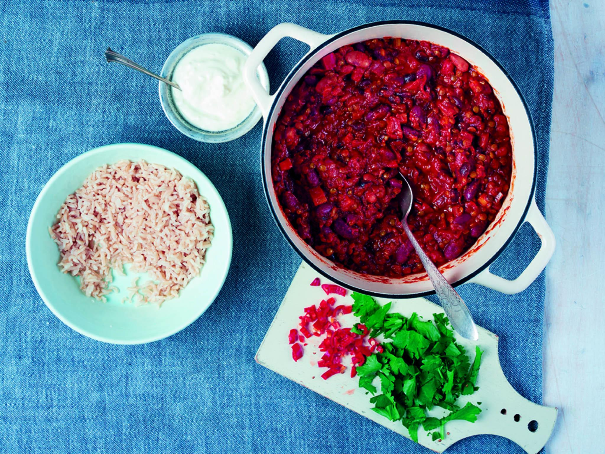 Meat Free Monday: How to make smoky three-bean and lentil chilli