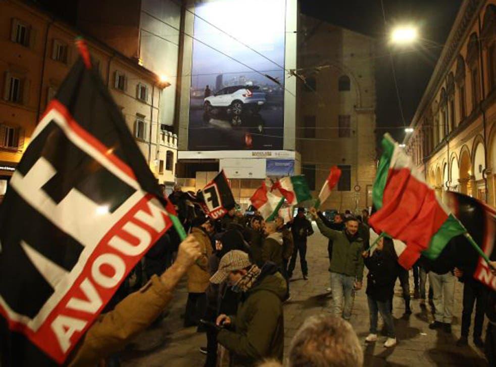 Members of the far-right Italian movement 'Forza Nuova' demonstre in Bologna, Italy, 16 February