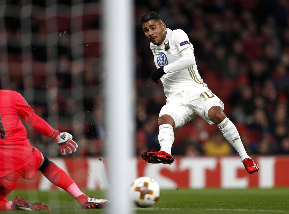 Ostersund's Swedish midfielder Hosam Aiesh scores past David Ospina