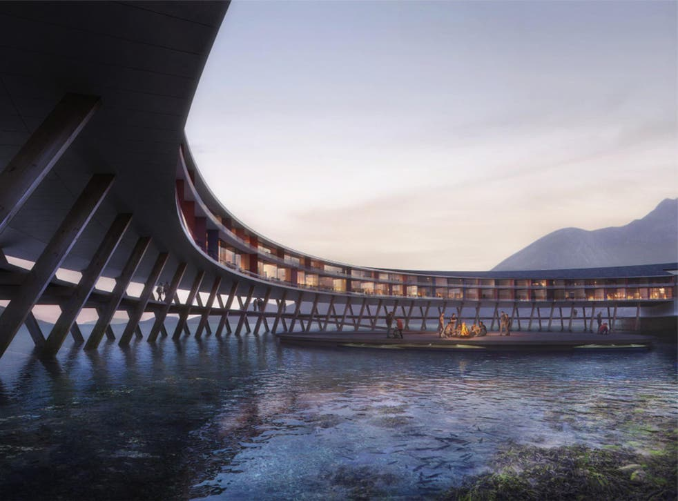 The hotel will be suspended above the water on V-shaped stilts to reduce its environmental impact.
