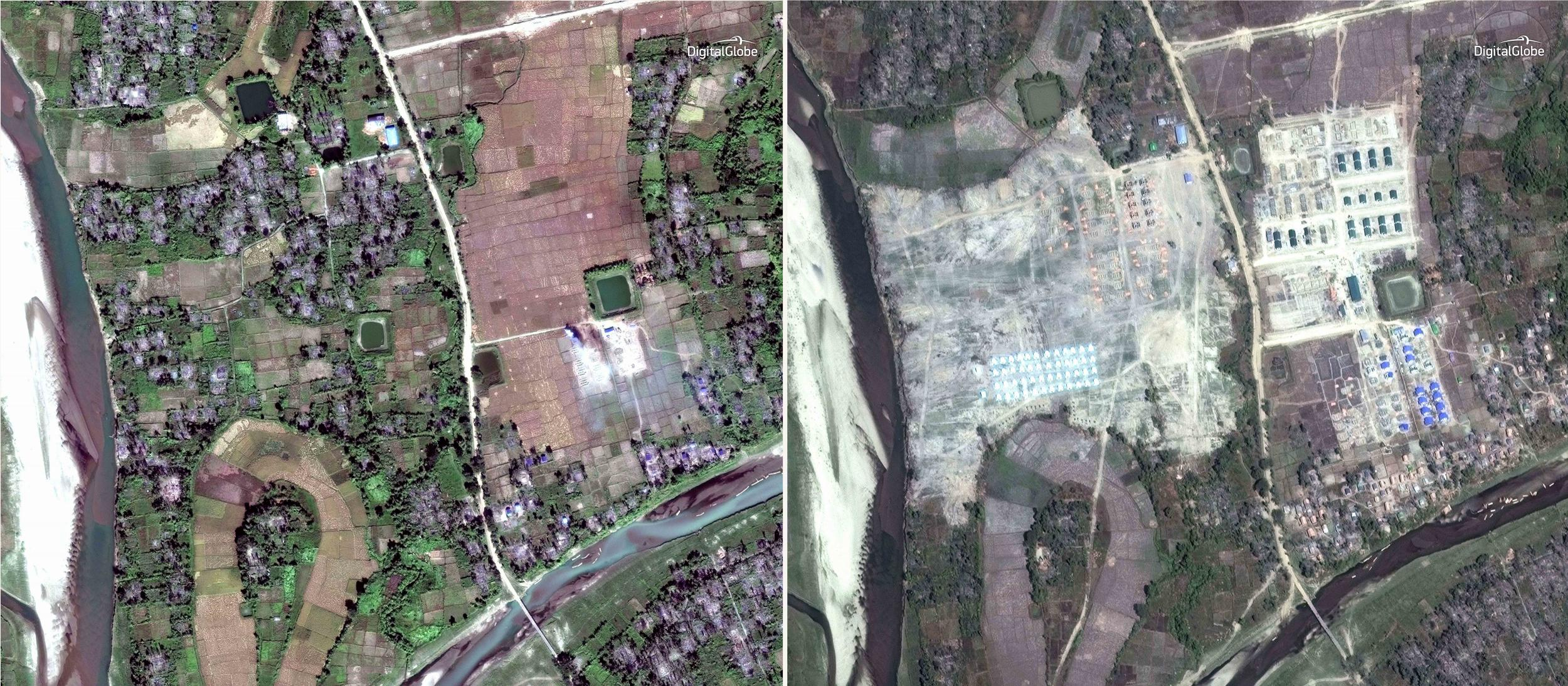 Satellite pictures 'show Muslim villages being bulldozed after massacre'