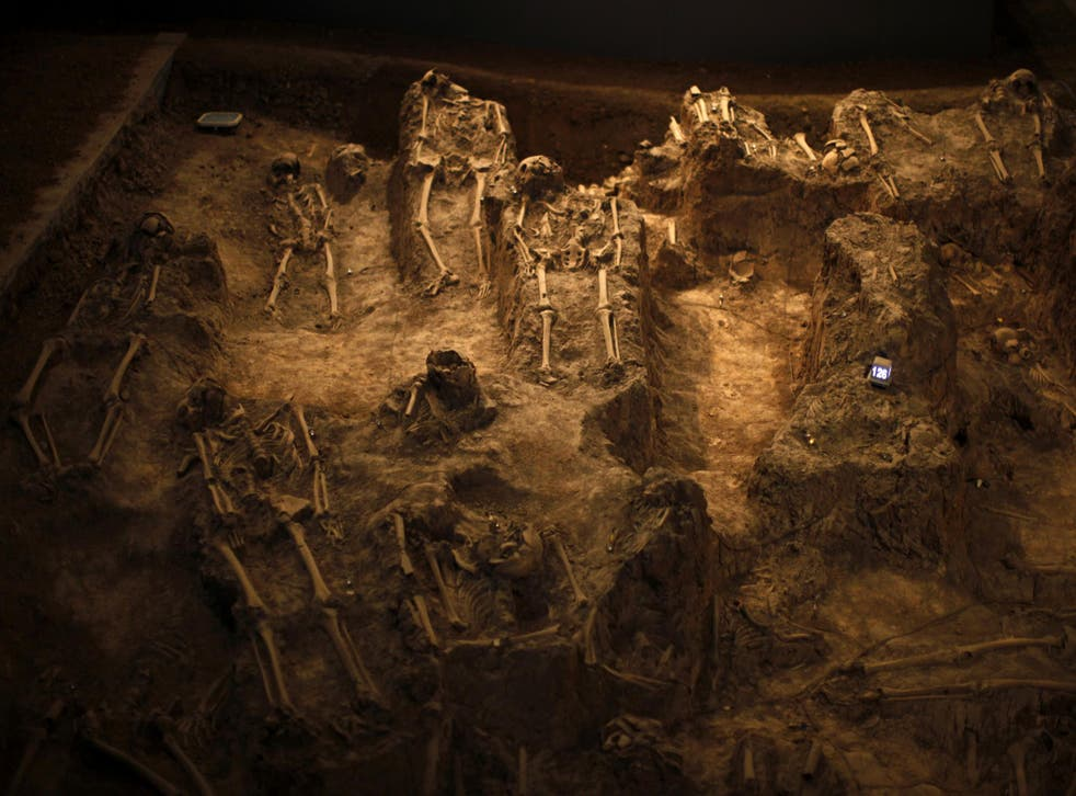 Skeletons of victims of the Nanjing nassacre are seen at the Nanjing Massacre Museum in Jiangsu