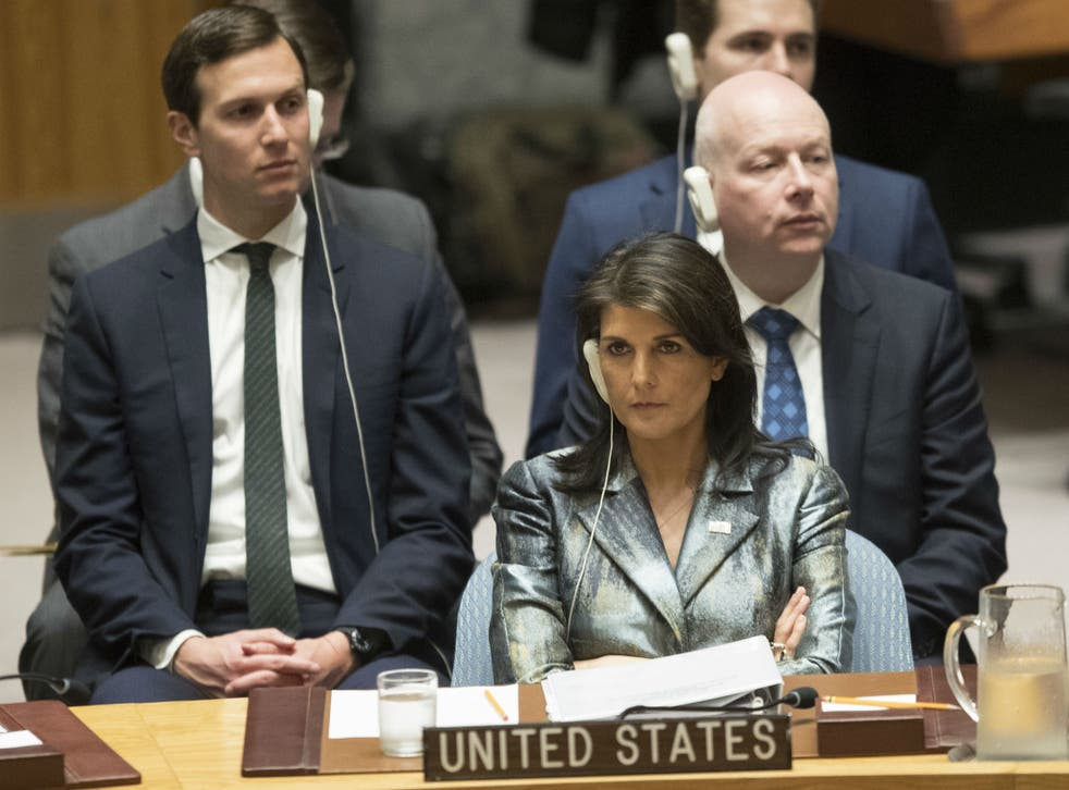 American Ambassador to the United Nations Nikki Haley listens during a Security Council meeting