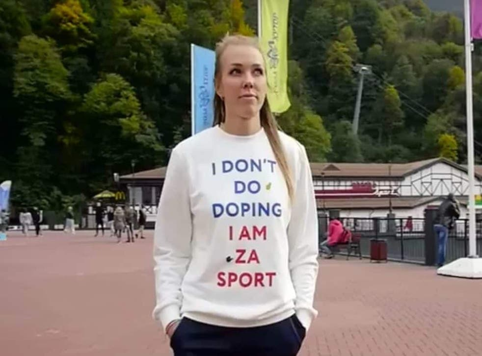 Nadezhda Sergeeva promotes an anti-doping message