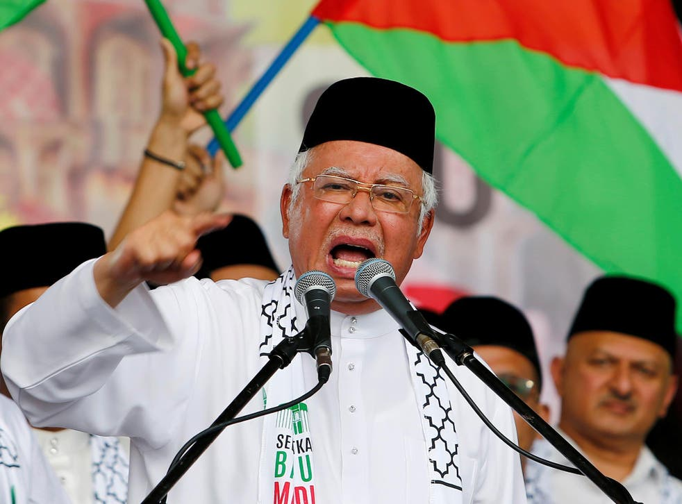 Malaysia's Prime Minister Najib Razak at a rally in December 2017